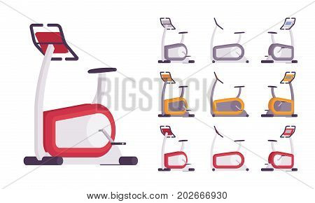 Exercise bike set. Cardio workout stationary equipment, sport device with comfy saddle, pedals. Vector flat style cartoon illustration, isolated, white background. Different positions