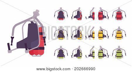 Jet pack set. Rocket belt device, worn on back, extreme equipment for personal air flight, aviation technology. Vector flat style cartoon illustration, isolated, white background. Different positions
