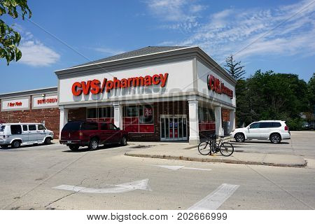 JOLIET, ILLINOIS / UNITED STATES - JULY 20, 2017: One may have prescriptions filled at the CVS Pharmacy on Plainfield Road.