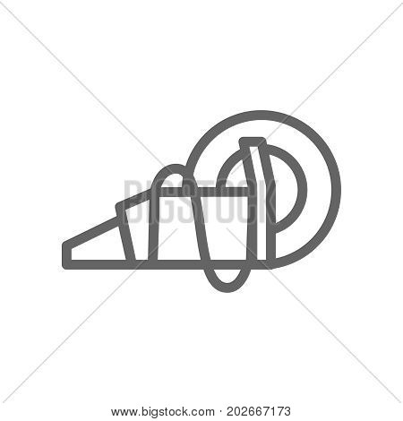 Simple circular saw line icon. Symbol and sign vector illustration design. Editable Stroke. Isolated on white background