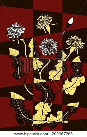 Abstract mosaic background, bouquet of dandelions on red and black, vector illustration