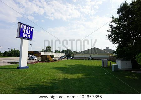 CREST HILL, ILLINOIS / UNITED STATES - JULY 20, 2017:  The Crest Hill Inn offers basic rooms with kitchenettes, cable television, and daily or weekly rates.