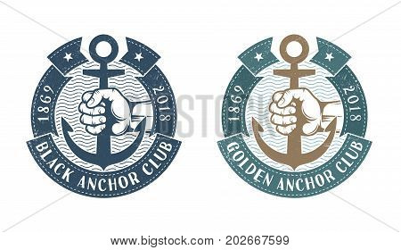 Hand holding an anchor surrounded by heraldic ribbons. Nautical retro logo. Worn texture on a separate layer and can be easily disabled.
