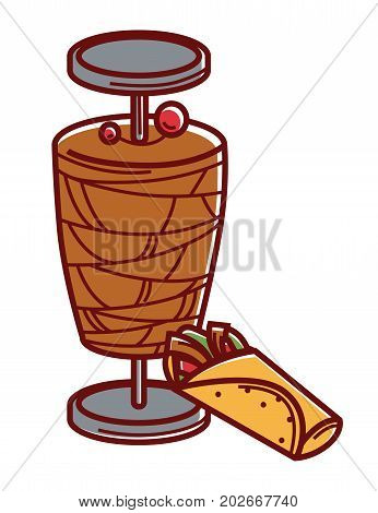 Metal stick with grilled and sliced meat and delicious shawarma with vegetables wrapped in pita bread isolated cartoon flat vector illustration on white background. Tasty Turkish unusual cuisine.