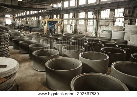 Well rings in workshop of concrete batching plant
