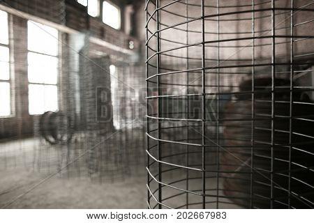 Metal frame in workshop of concrete batching plant