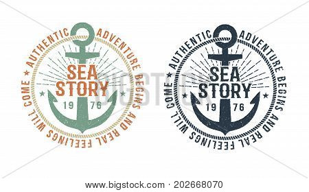 Vintage marine logo tattoo with anchor and inscription sea story. Monochrome and color version. Worn texture on a separate layer and can be disabled.