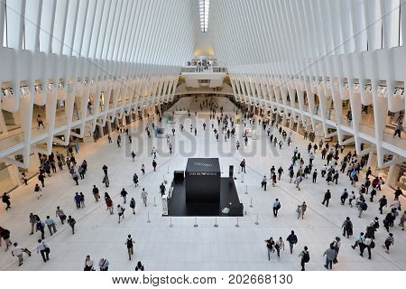 NEW YORK CITY - AUGUST 23: interior of the WTC Transportation Hub on August 23 2017 in New York City USA. The main station house the Oculus opened on March 4 2016 and the terminal was renamed the WTC Transportation Hub.