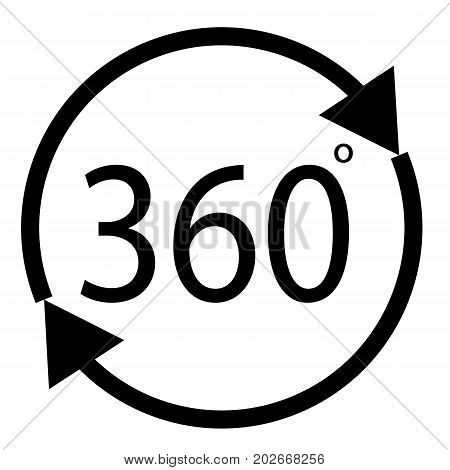 rotate 360 degrees icon on white background. rotate 360 degrees sign.