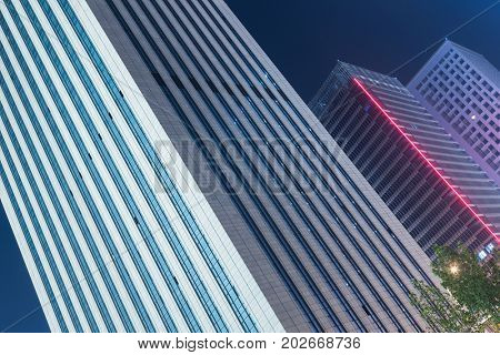 tilt image of architectural complex in downtown tianjin,china.