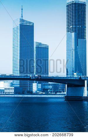 Dalian city waterfront downtown skyline,China.