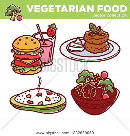 Vegetarian food vector collection of meals illustrations. Burger with vegetables and strawberry milkshake, soy cutlets with sauce and green leaves, bowl of hot risotto and fresh salad with broccoli.