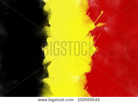 colorful Belgium flag from watercolor, grunge style
