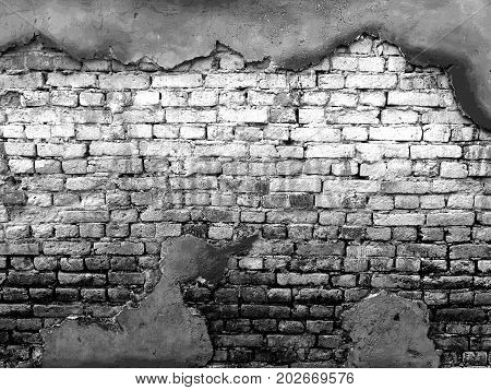 vintage background texture old masonry stone bricks on the ancient cement with cracks. black and white color
