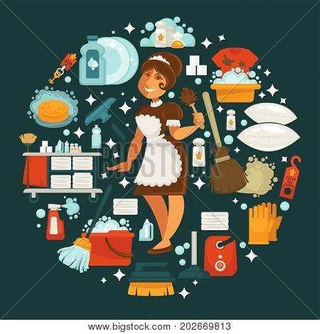 Maid in uniform surrounded with equipment for cleaning isolated vector illustration. Chemical cleaners, buckets with soap, vacuum cleaner, wooden broom, rubber gloves, clean towels and pillows.