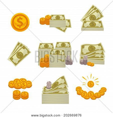 Piles of dollars, silver and gold coins isolated cartoon flat vector illustrations set on white background. Metal and paper money heaps with high and low value. Symbol of wealth and richness.