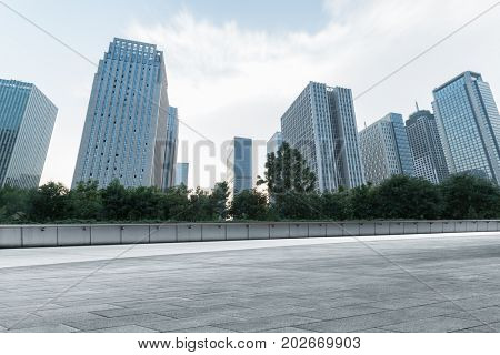 empty square front of tianjin city skyline,china.