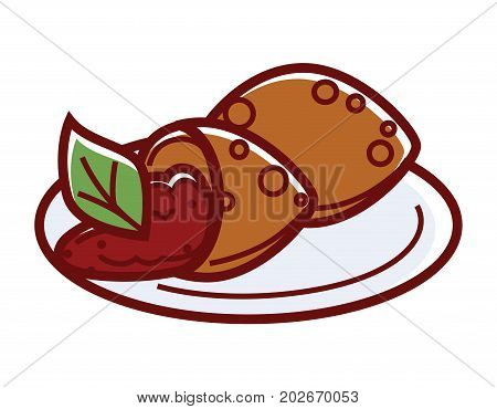 Falafel kofte with delicious filling and green leaf on plate. Deep-fried balls of chopped chickpeas with addition of beans, seasoned with spice. Turkish dish vector illustration on white background.