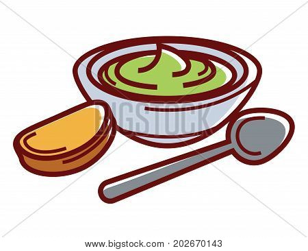 Avocado paste in bowl with small toast and spoon isolated cartoon flat vector illustration on white background. Delicious natural homemade sauce on sour cream base. Healthy organic vegetarian food.