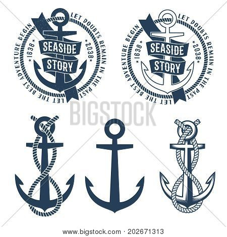 Anchor tattoo logo with ribbon rope and seaside story words on it. Retro nautical emblem. Rubbed texture on a separate layer and can be easily disabled.