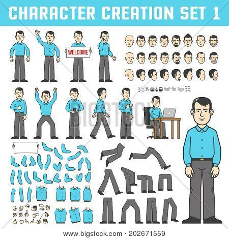 Character creation set. A man in a shirt and trousers in various poses - stands goes drinks coffee and works both. Individual parts of the body and face in different positions.