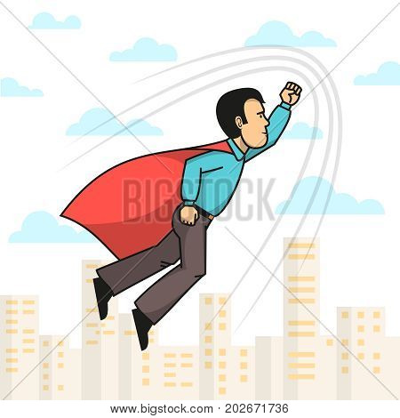 Side view of superhero man wearing red cloak with hand up flying over city. Vector illustration.