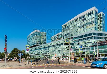 Moscow, Russia - August 31. 2017. The Legenda Tsvetnogo is a business center on Tsvetnoy Bulvar Street