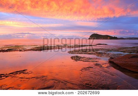 Stunning Red Sunrise Over Lion Island From Pearl Beach