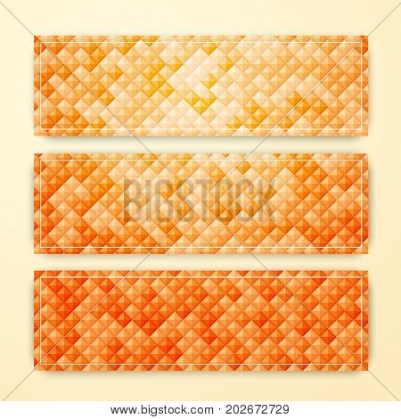 Set of vector abstract geometric banners. Diamond tile footer or header for web site. Autumn orange triangular cards for elegant business design.