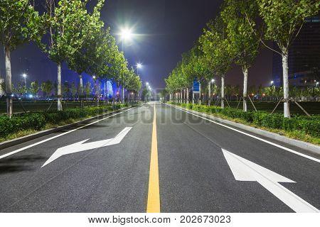 empty treelined road at night,Tianjin,China.