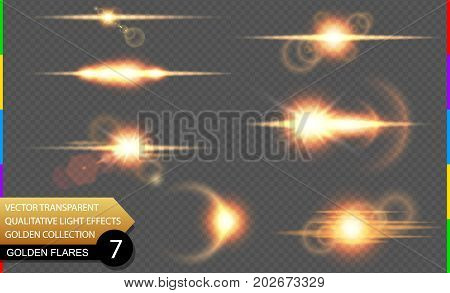 Isolated Golden Lens Flare Line. Glow Transparent Vector Light Effect Set, Explosion, Sun Flash, And