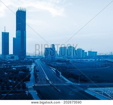 elevated view of Dalian city skyline and cityscape in the morning,China.