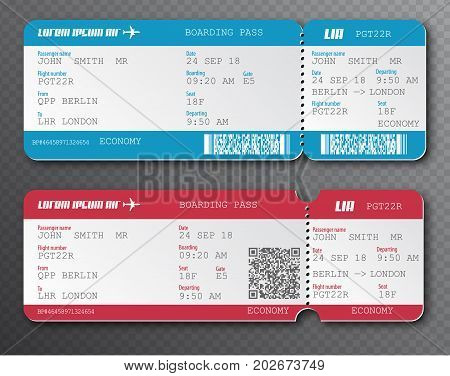 Airline Boarding Pass Ticket Tear-off Element Set, Isolated On Transparent Background. Vector Illust