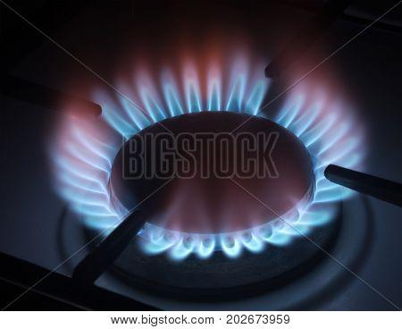 the big gas burner on a black