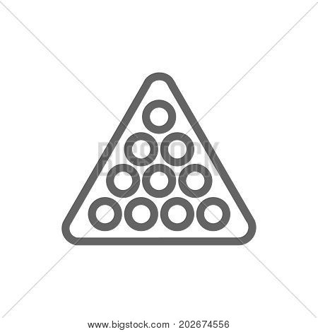 Simple billiard balls in triangle line icon. Symbol and sign vector illustration design. Editable Stroke. Isolated on white background
