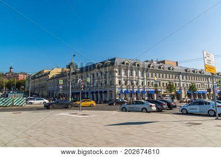 Moscow, Russia - August 31. 2017. Neglinnaya gallery is a business center on Tsvetnoy Bulvar Street