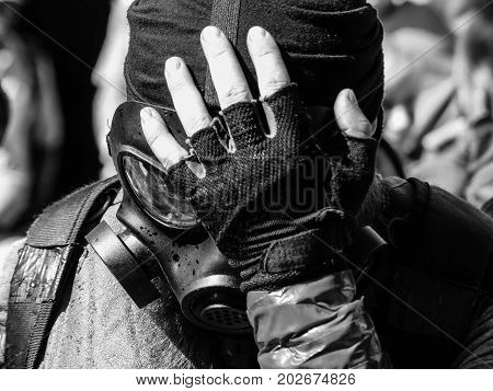 Close up black and portrait man respirator radioactive protection