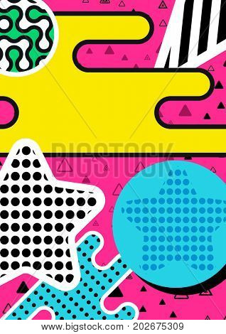 Memphis poster, background with simple geometric elements, patterns fashion trend 80-90s.
