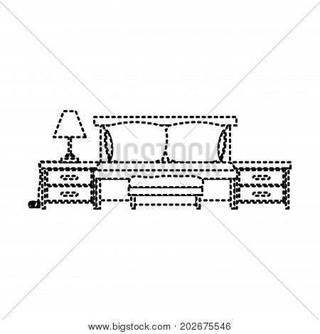 bed with nightstand dotted silhouette on white background vector illustration