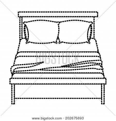 bed wooden with blanket and pair pillows dotted silhouette on white background vector illustration