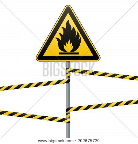Caution - fire hazard Combustible environment. Flammable liquids or surface. Barrier tape. Vector illustration