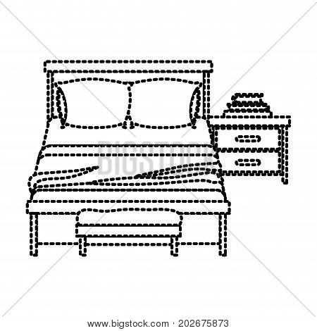 bedroom with books over nightstand dotted silhouette on white background vector illustration