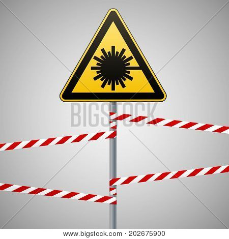 Caution - danger Warning sign safety. Danger laser radiation. yellow triangle with black image. sign on pole and protecting ribbons. Vector illustration