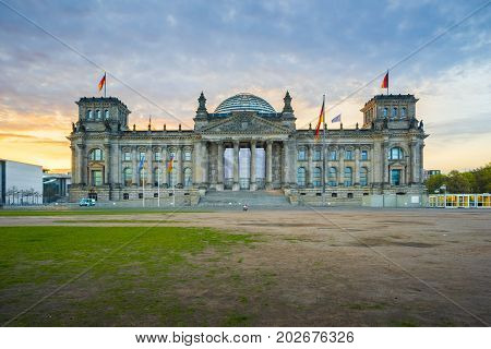 Sunrise At The Reichstag Building A Historic Edifice In Berlin, Germany