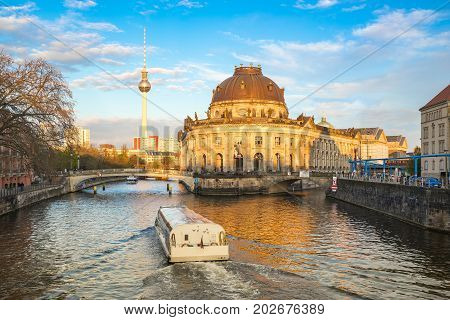 Museum Island By The Spree River At Sunset In Berlin City, Germany