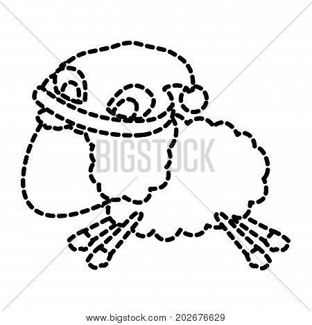 sheep animal faceless with sleeping cap jumping dotted silhouette on white background vector illustration