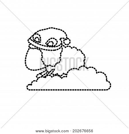 sheep animal faceless with sleeping cap into the clouds dotted silhouette on white background vector illustration