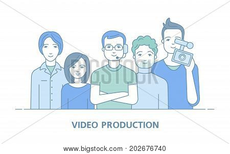 Our team. Employees of video production. Internet broadcasting. Banner for the website. Cameraman, editor, director. Vector illustration in a linear style