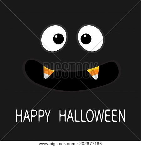 Happy Halloween. Scary face emotions. Big eyes mouth with candy corn Vampire tooth fang. Baby Greeting card. Flat design style . Black background. Vector illustration