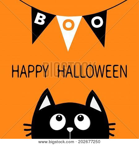 Black cat face head silhouette looking up to Bunting flags Boo letters. Flag garland. Happy Halloween card. Party decoration element. Hanging text on rope thread. Flat design Orange background. Vector